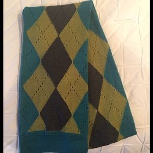 Charter Club Turquoise & Brown Argyle Winter Scarf